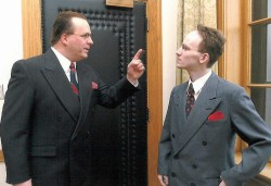 Actor Kelly Munce and Will Barber pose in preparation of the 2003 re-enactment of the 'Debate of the Century'