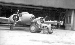 WWII Training aircraft being towed out of hangar at No. 2 Bombing and Gunnery School near Mossbank in 1942.
