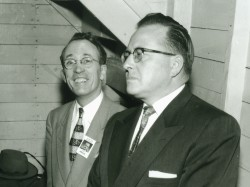 Tommy Douglas and Ross Thatcher just prior to 1957 debate.